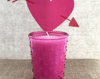 Dark Pink Bubble Glass 14oz Soy Candle - Glacé scent