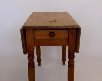 Antique English Scrubbed Pine Drop Leaf Table c1890