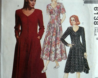 Uncut 1990s McCall's Vintage Sewing Pattern 6138, Size 8; Misses' Dress in Two Lengths