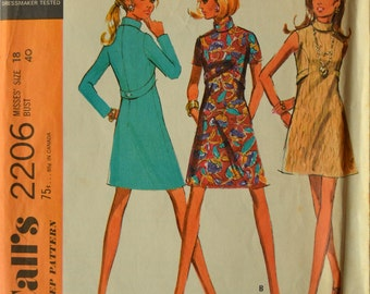 Uncut 1960s McCall's Vintage Sewing Pattern 2206, Size 18; Misses' Dress in Three Versions