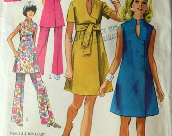 1960s Simplicity Vintage Sewing Pattern 8278, Size 12; Misses' Dress or Tunic and Pants