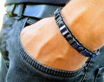 Leather Wrap Hematite and Lava Rock Skull Unisex Bracelet Man Woman Teen Leather Wrap Healing Bracelet Protection Bracelet