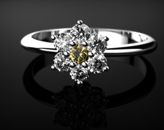 Citrine Engagement Ring White Gold Citrine Ring Orange Gemstone Engagement Ring White Gold Citrine Ring November Birthstone