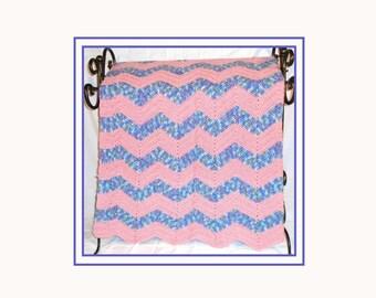 Rose and Artist Print Afghan, Crochet Blanket, Handmade Crochet, Country Rose, Artist Print Blues, Ripple Afghan, OOAK, Large Afghan.