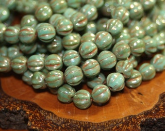 Czech Glass Beads, 6mm Melons 25 Beads