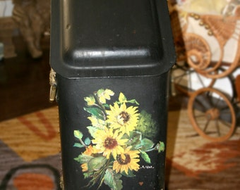 Antique Coal Scuttle Bin//Coal Hod//Tole Painted Front//Brass Accents//Antique Coal Bin