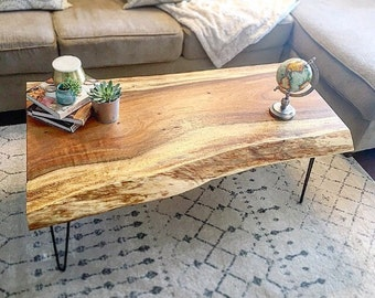 SOLD! Monkey Pod Live Edge Coffee Table with Hairpin Legs