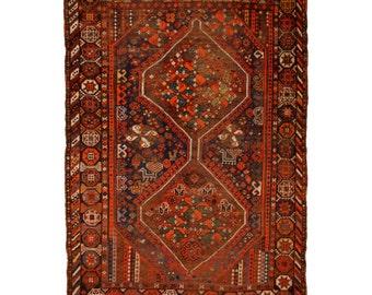 Baharlu Khamse antique rug Iran / Persia 5.9 x 4.3 ft / 181 x 132 cm bohemian boho style carpet vintage
