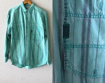 1990's Men's Vintage Southwestern Print Button Down Shirt by Introspect Sportswear