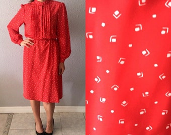 Vintage Abstract Print 1980's Red Secretary Dress By the Iconic Sasson
