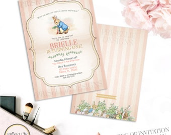 Peter Rabbit Baby Shower Invitation, Peter Rabbit Invitation, Peter Rabbit Girl Baby Shower Invitation, Storybook Baby Shower Invitation