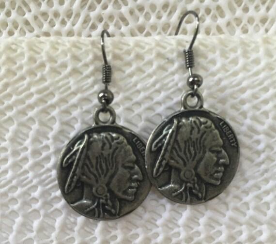 Buffalo Nickel Antique Silver Earrings or a copper finish