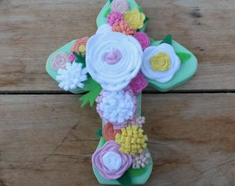 Wooden Cross, Wood Cross, Distressed cross, Flower cross, White flowers, Mint green cross, Felt flowers, Roses, Handmade cross, Pink flowers
