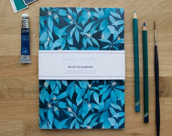 Ivy Set of 2 A5 Notebooks | Lined Pages | Recycled Paper | Designed in Yorkshire | Made in the UK