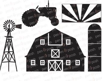 Svg - Farm SVG - Tractor SVG - Farm DXF - Farm Silo Svg - Farm Windmill Svg - Country Svg - Redneck Svg - Farm Svg Files - Farm Cut
