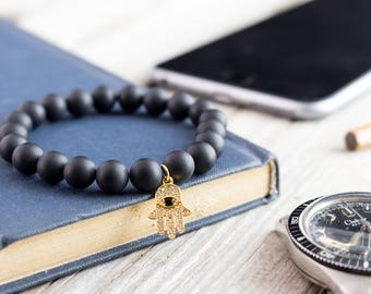 8mm - Matte black onyx beaded stretchy bracelet with micro pave gold Hamsa hand charm, made to order beaded mens bracelet, womens bracelet