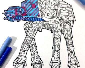 AT-AT Walker - PDF Zentangle Coloring Page