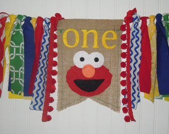 Elmo Fabric Banner, Primary Colors, Burlap, Highchair, Cake Smash, Photo Shoot, Birthday