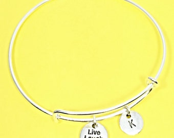 Live Laugh Love Charm Bracelet, Love  Bangle Bracelet, Inspirational Jewelry, Personalized, Custom, Initial Bracelet, Live Laugh Love Gift