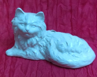 White Porcelain Cat Vintage White Cat Planter Flower Pot 60's