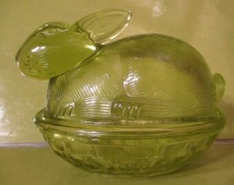 Rabbit on Nest-- Basket Candy Dish- Green Glass--Vintage--Glass Art