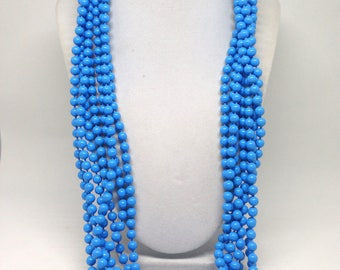 Gorgeous Blue Beaded Multi Strand Silver Tone Vintage Estate Necklace