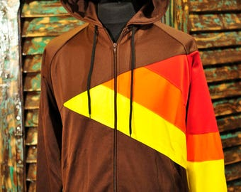 Rångete Zip Hood Sweatshirt Brown red orange Yellow Lines S L XL Brown Unisex Sweatshirt Jacket Stripes Hoodie Yellow Orange Red