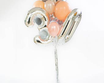 30th Birthday Balloon Bouquet / 30 Balloon Numbers / Silver Giant Number Balloons / Foil Mylar Balloons / Party Balloon