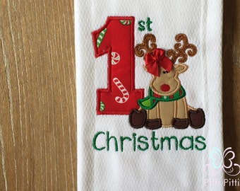 My First Christmas Bodysuit, Shirt, Bib or Burp Cloth -  My 1st Chritsmas  with Reindeer- Baby Christmas