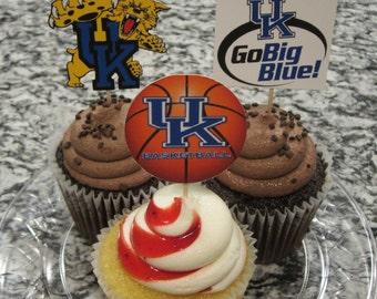 Cupcake toppers, party supplies, Kentucky Wildcats, basketball, sports theme, NCAA, March Madness, college