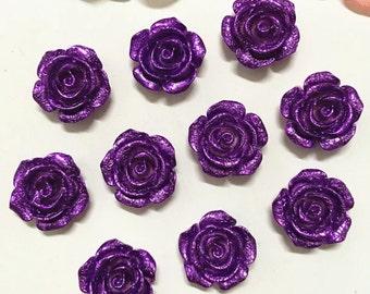 Purple Resin Flowers Flat Backs 10pcs  F5