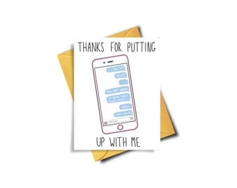 Thanks For Putting Up With Me Funny Card For Boyfriend, Birthday Card Boyfriend, Funny Card For Him, Best Friend Birthday Card, Mom Birthday