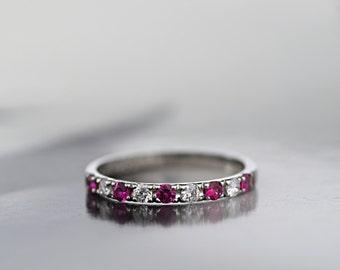 Platinum 950 Diamond and Natural Ruby Half Eternity Ring, Platinum 2mm Wedding Band