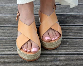Greek Sandals, Espadrilles Sandals, Leather Flatform Sandals, Criss Cross Sandals, Slingback Platform Sandals ''Naxos''