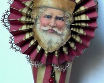 Victorian Santa Cone, Tussie Mussie, Paper Cone, Christmas Ornament