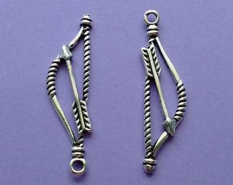 10 Bow and Arrow Charms Silver- CS3056