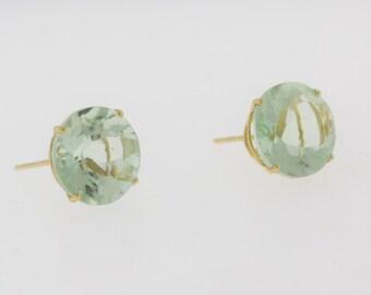 Classic 5.0 cttw Peridot Stud Earrings- 14k Yellow Gold