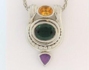 Multi-Color Stone Necklace- Sterling Silver