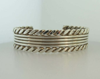 Chain Texture Cuff Bracelet- Sterling Silver