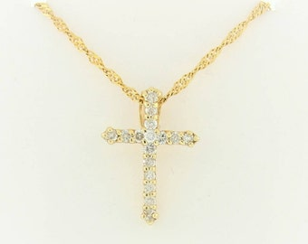 Vintage Diamond Cross Pendant And Necklace - 14kt Yellow Gold