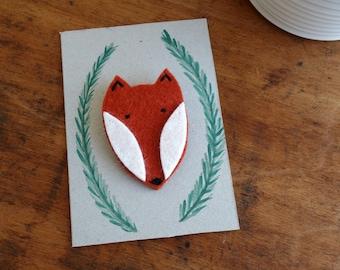Cute brooch fox forest animal woodland made of felt