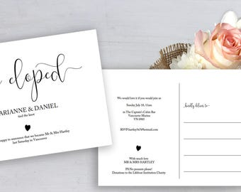 Printable elopement card template with a pretty heart motif. Print both sides straight on to 5x7 postcard, edit & print wedding postcard.