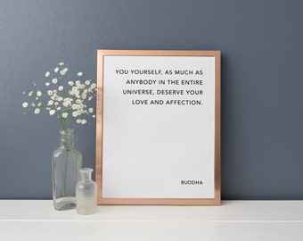 BUDDHA Literary Quote // 8 x 10 Typography Print // Premium 100% Recycled Paper // Vintage, Black and White Wall Art