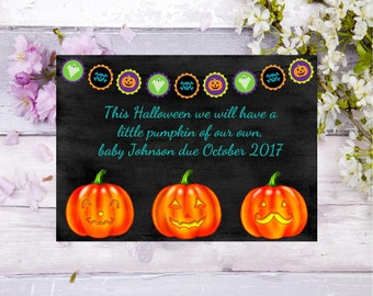 pregnancy announcement card fall october Halloween  baby announcement card baby on the way pregnancy announcement baby card