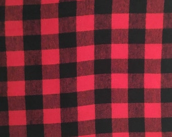 Red and Black Buffalo Check Plaid 100% Cotton Flannel Fabric - 1 in check