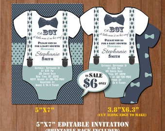 Little Man Baby Shower Invitation-Self-Editing Mustache Baby Shower Invitate-Printable Onesie Invitation-Little Gentleman-Little Man-B409-ON