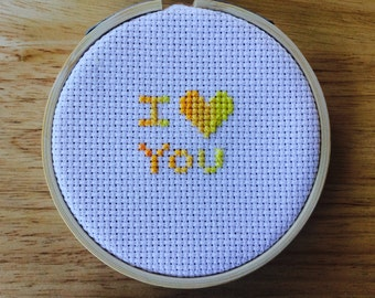 I Love You Cross Stitch Pattern - Quote Counted Cross Stitch Chart - Mother's Day Birthday Gift Valentine - Pdf - Instant Download