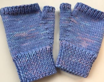 Hand knitted, variegated colour, fingerless mitts - size M/L