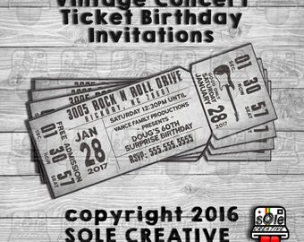 Concert Ticket Birthday Invitations!