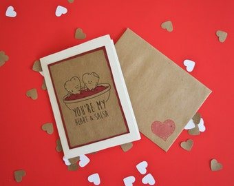 You're My Heart and Salsa - Valentine's Day Card - Greeting Card - Chips & Salsa - Mexican Food - Love